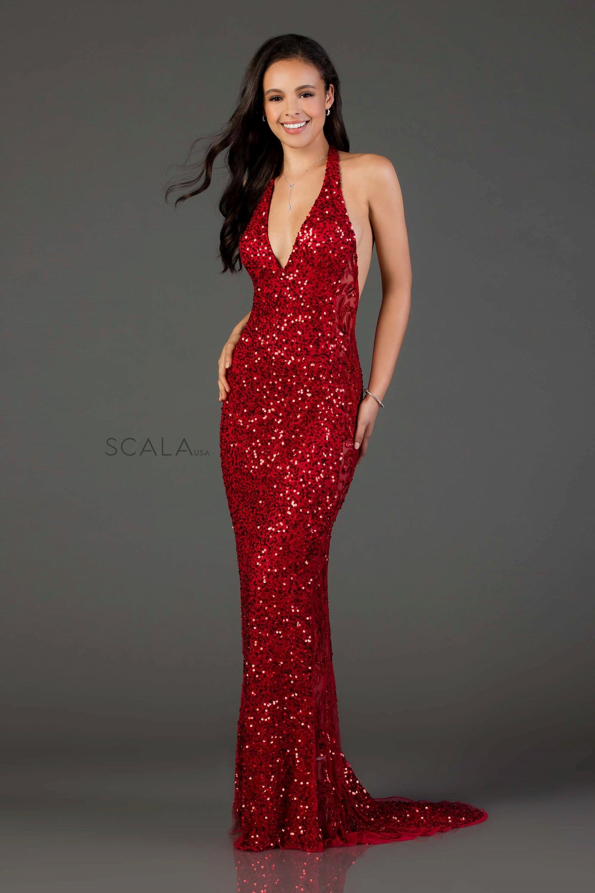 Scala 48959 red halter dress