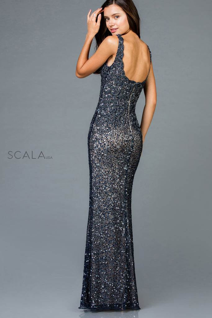 Scala 48961 fitted long sequin dress