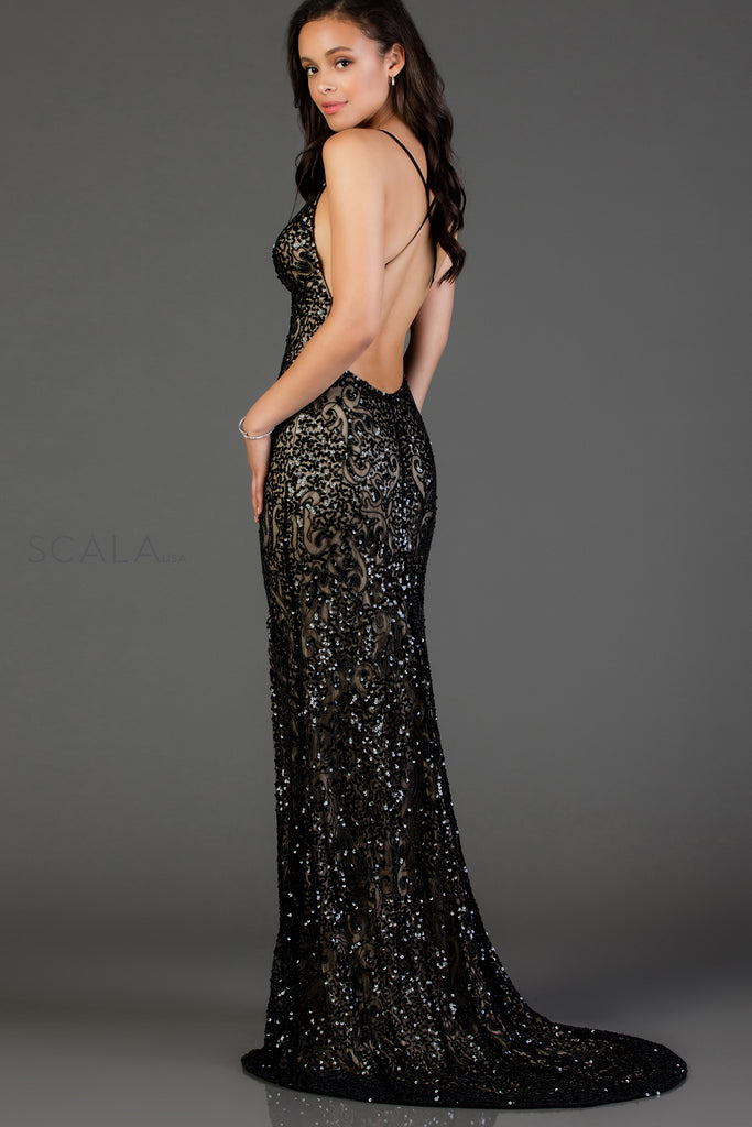 Scala 48977 sequin long fitted dress