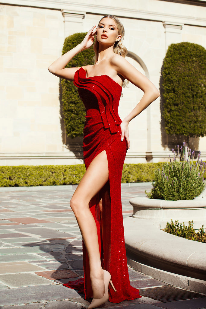 nicole bakti 7038 red sequins dress