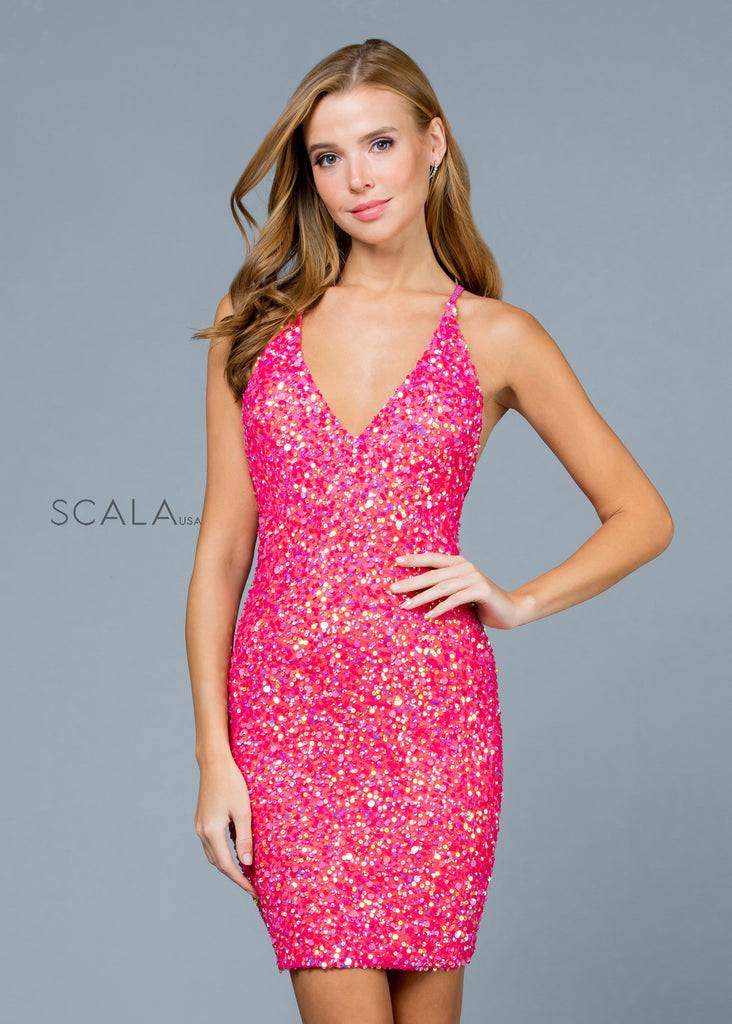Scala 60060 pink short sequin dress