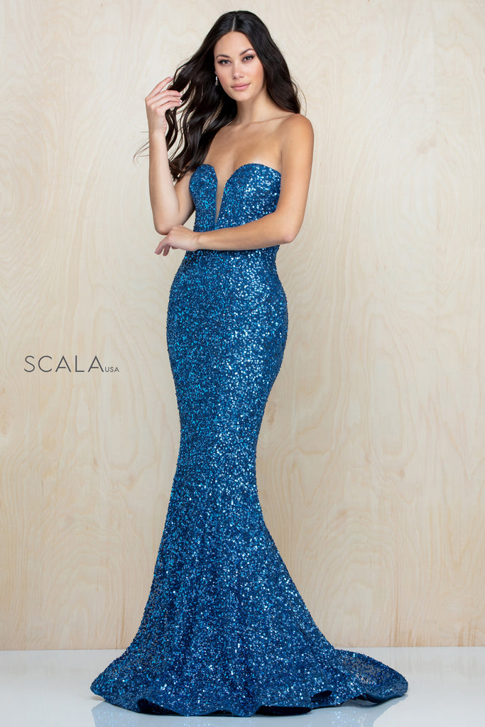 Scala 60093 sweetheart mermaid sequin long dress