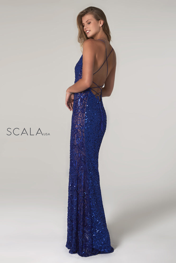 Scala 60096 royal blue sequins prom dress