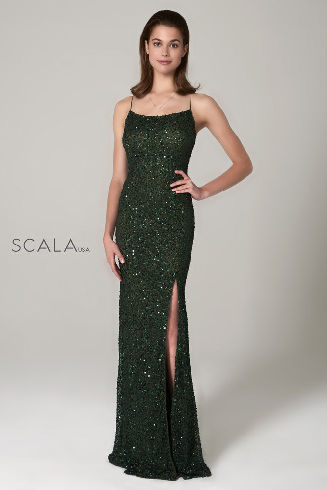 scala 60100 forest green sequins prom dress
