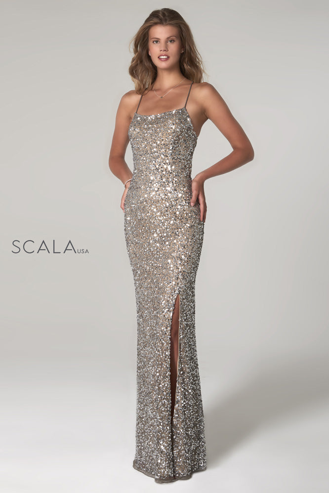 scala 60100 silver sequins prom dress