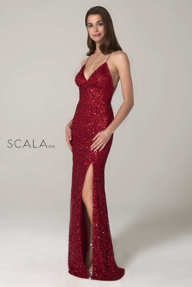 Scala 60116 red sequins prom dress
