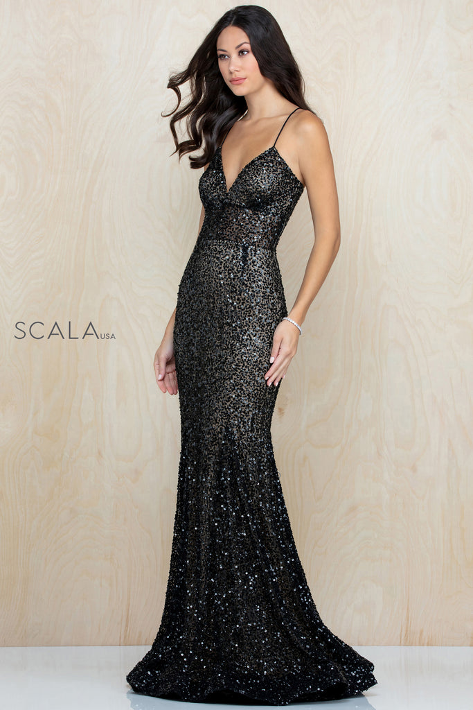 Scala 60179 lace up sequin fitted long dress