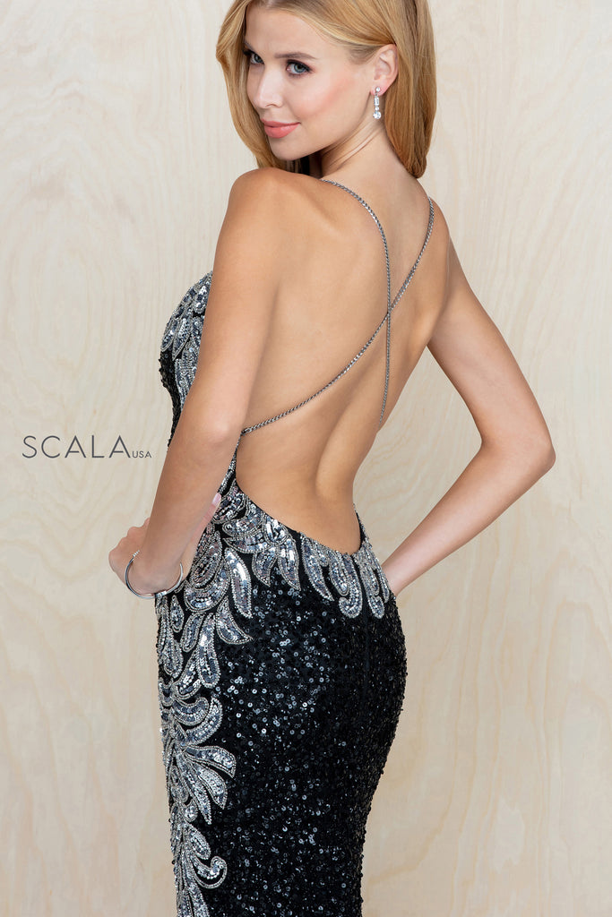 Scala 60225 pattern sequin long fitted dress