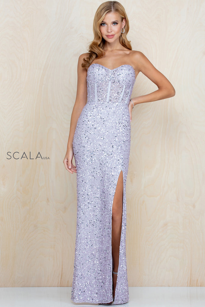 Scala 60227 strapless sweetheart long sequin dress