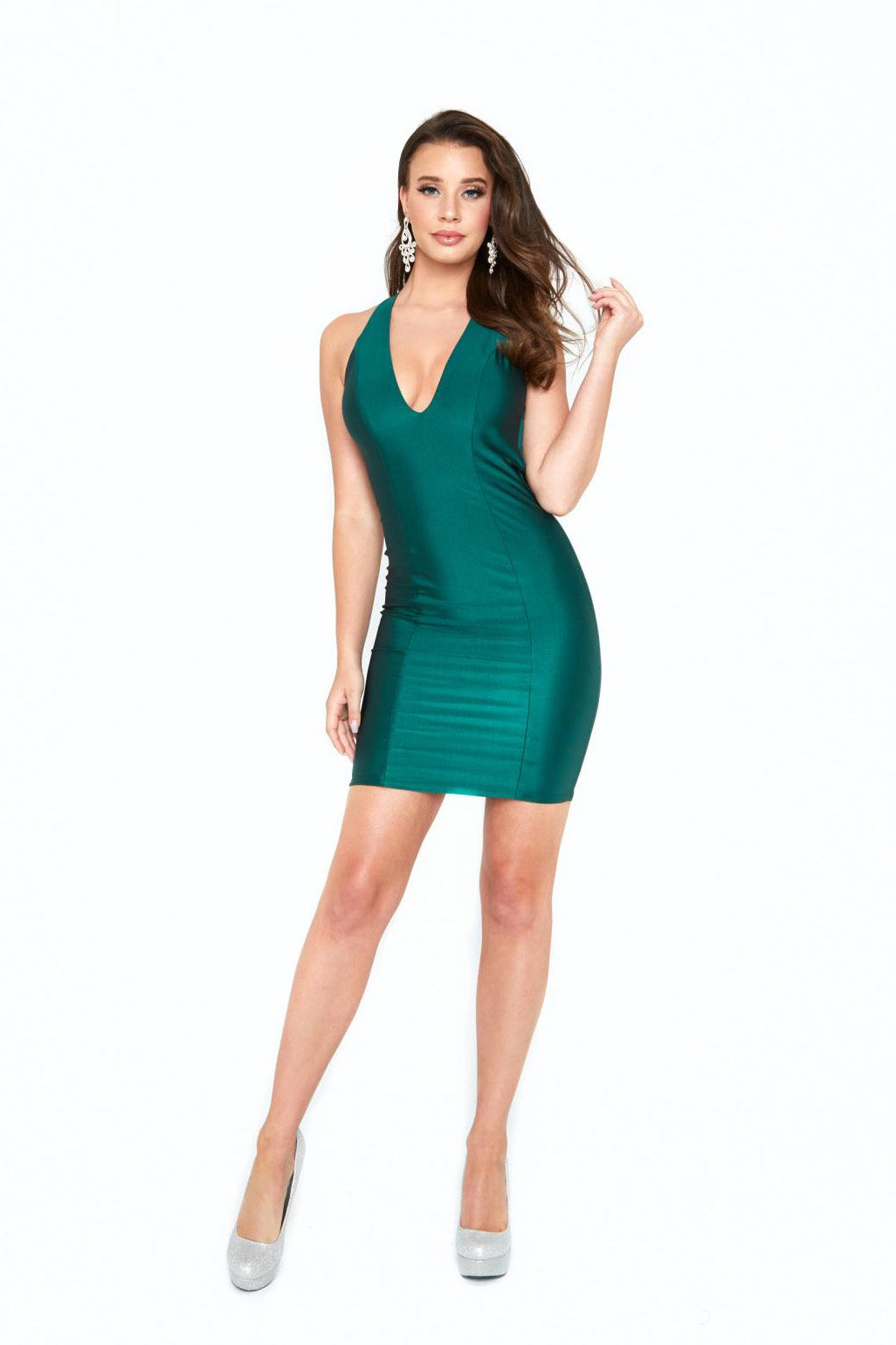 atria 6009 green halter dress