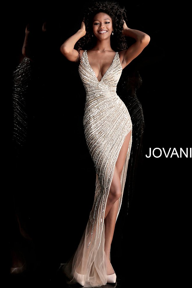 7af5452d921b Jovani 63405 gold and silver fully beaded long pageant and prom ...