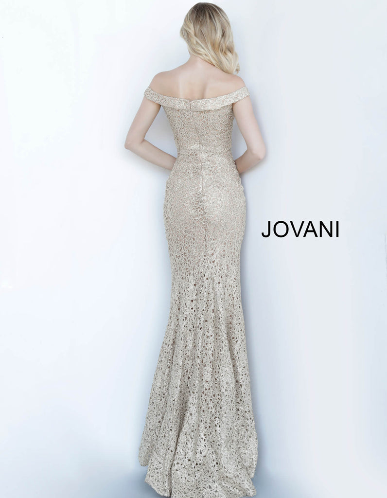 jovani off the shoulder gold mother of the bride dress