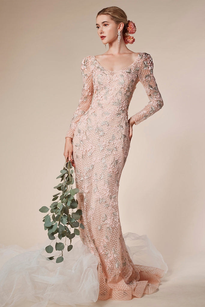 Andrea and Leo 6475 long sleeve fitted evening gown
