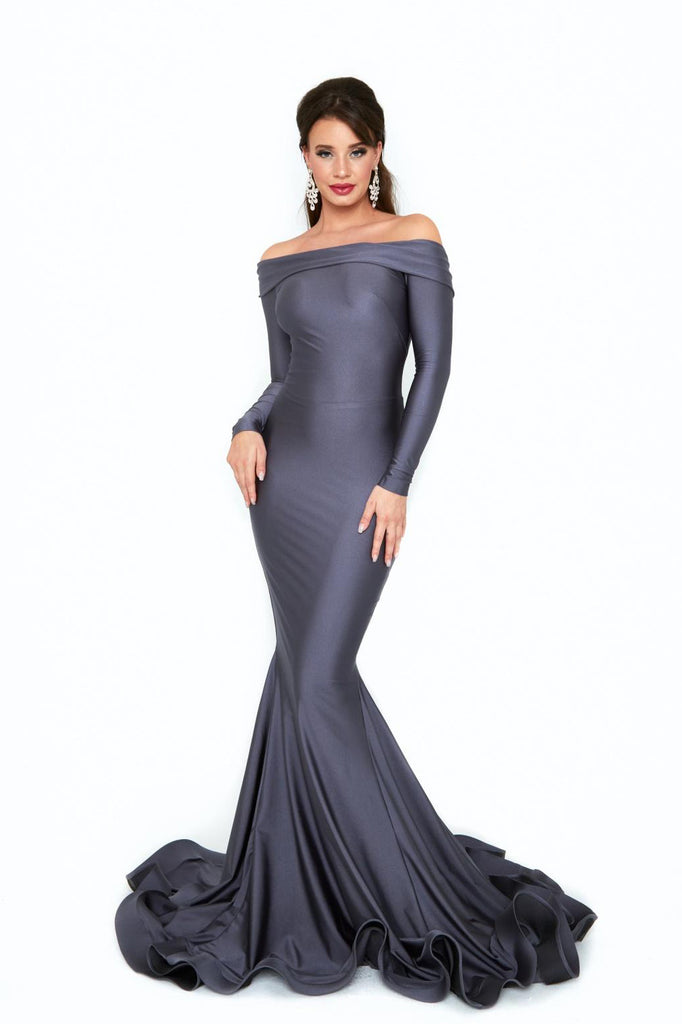 Atria 6509h charcoal mother of the bride dress