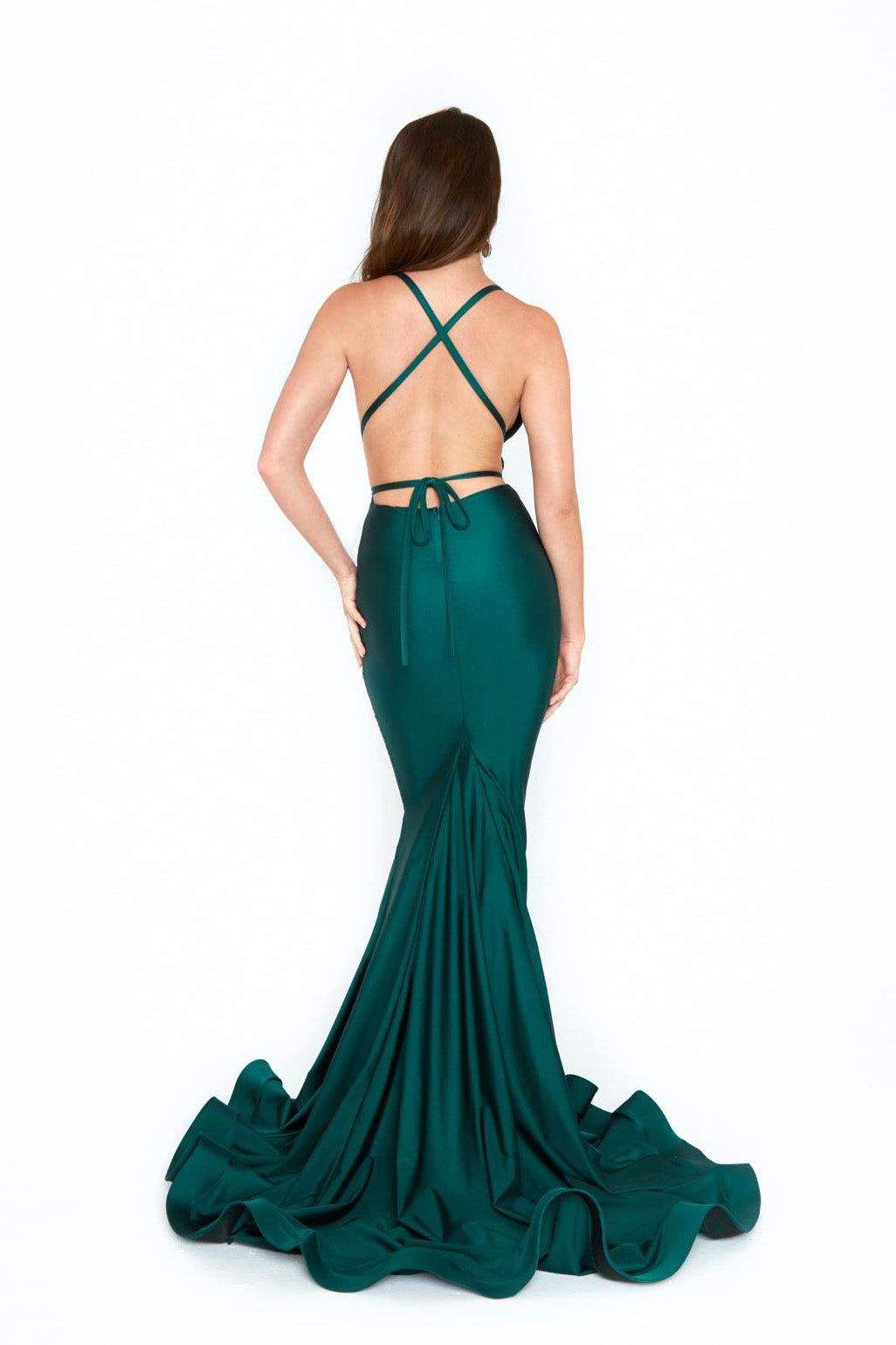 atria 6530 green low back dress
