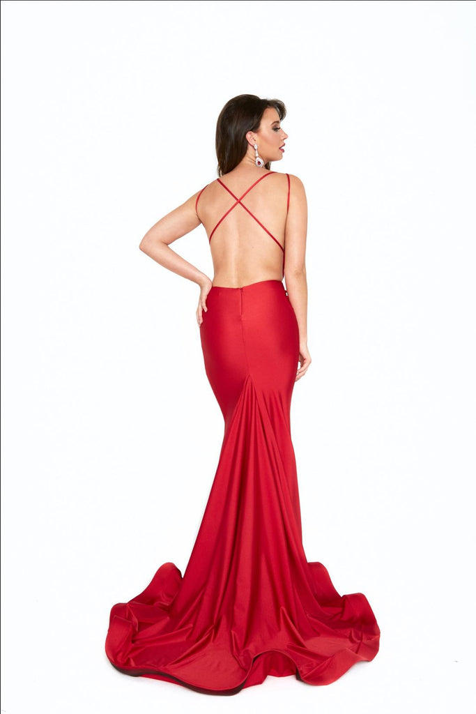 Atria 6534 red low back prom dress