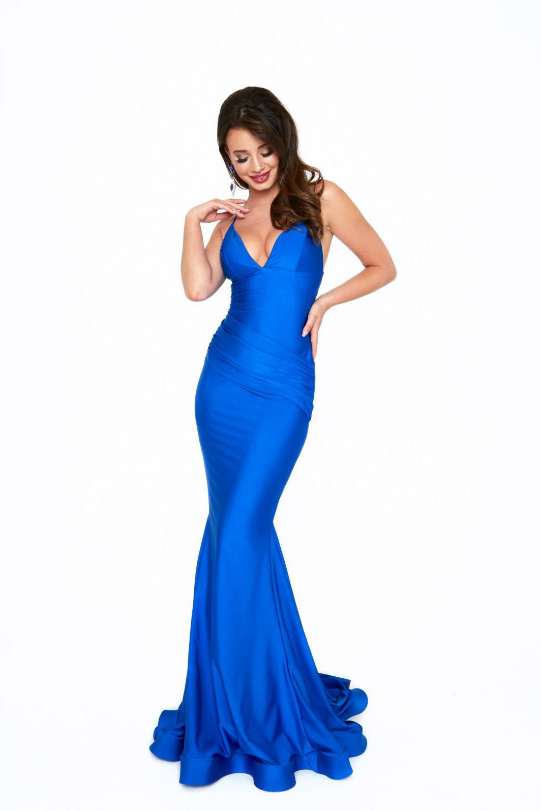atria 6536H royal blue low back dress