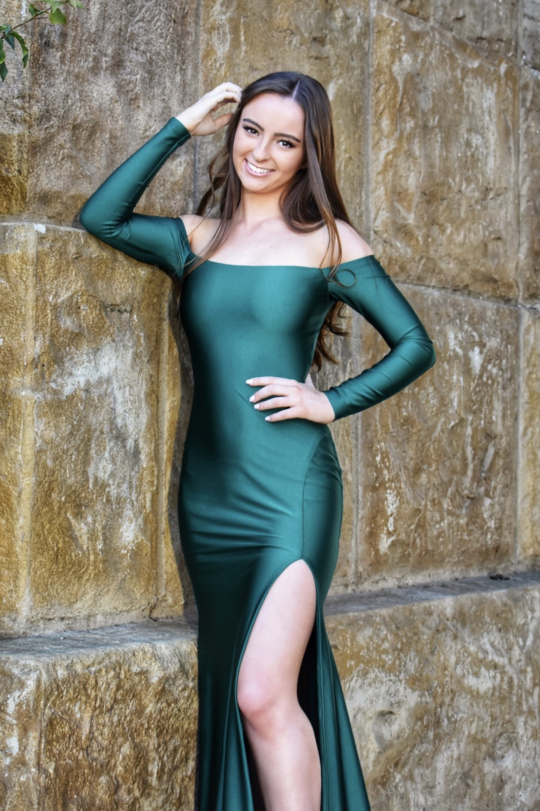 atria 6554 long sleeve emerald green long dress