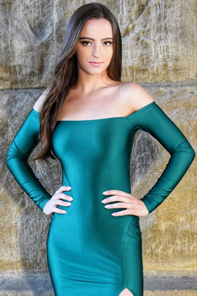 off the shoulder emerald green long mermaid dress