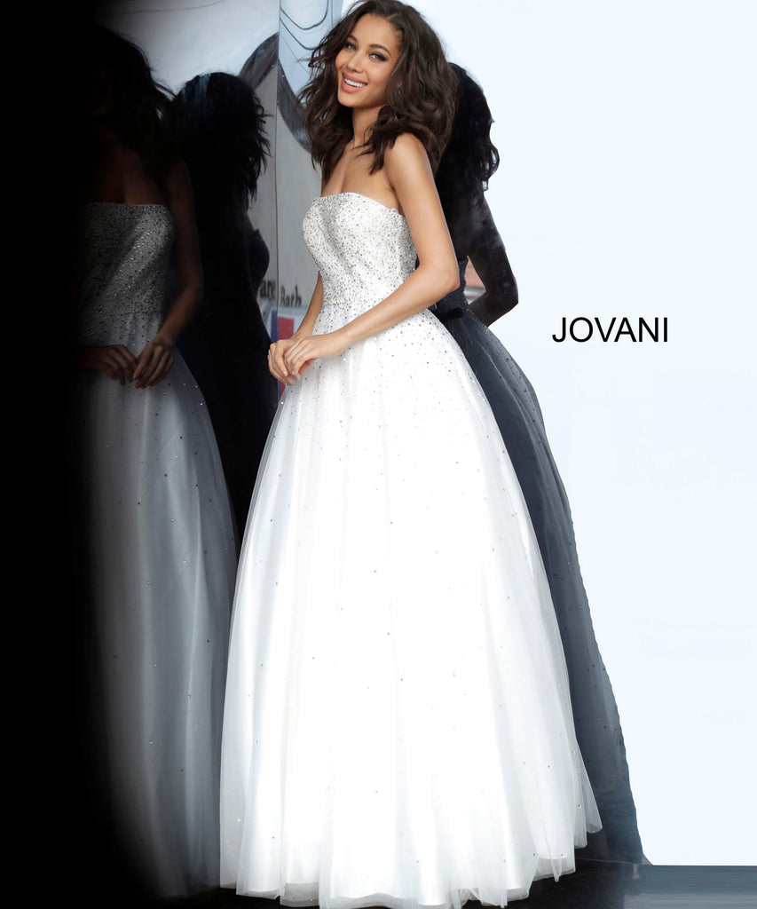 Jovani 65664 strapless aline prom dress