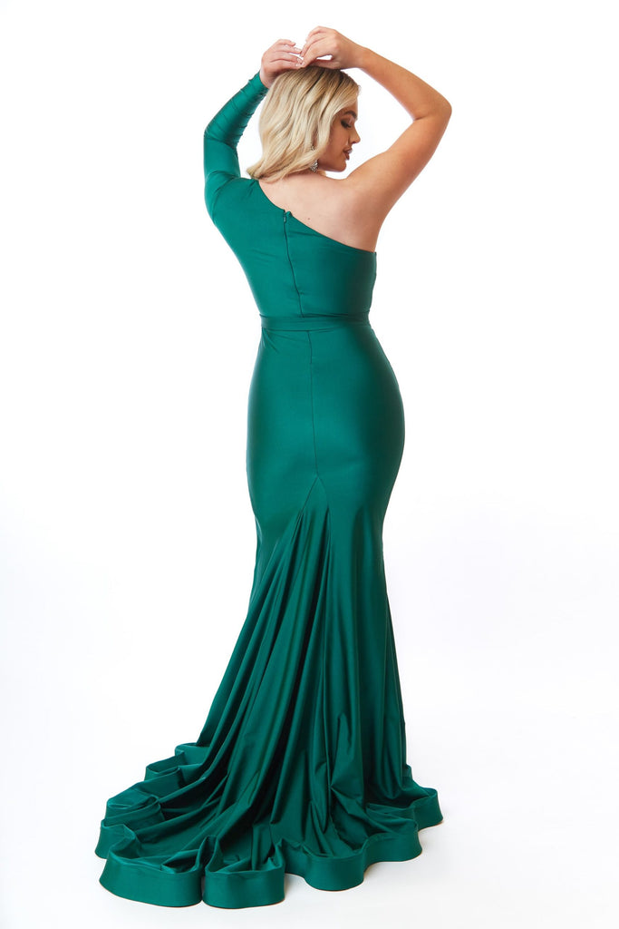 Atria 6715H green one shoulder dress