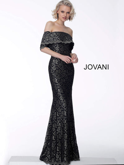 Jovani 67902 off the shoulder lace dress