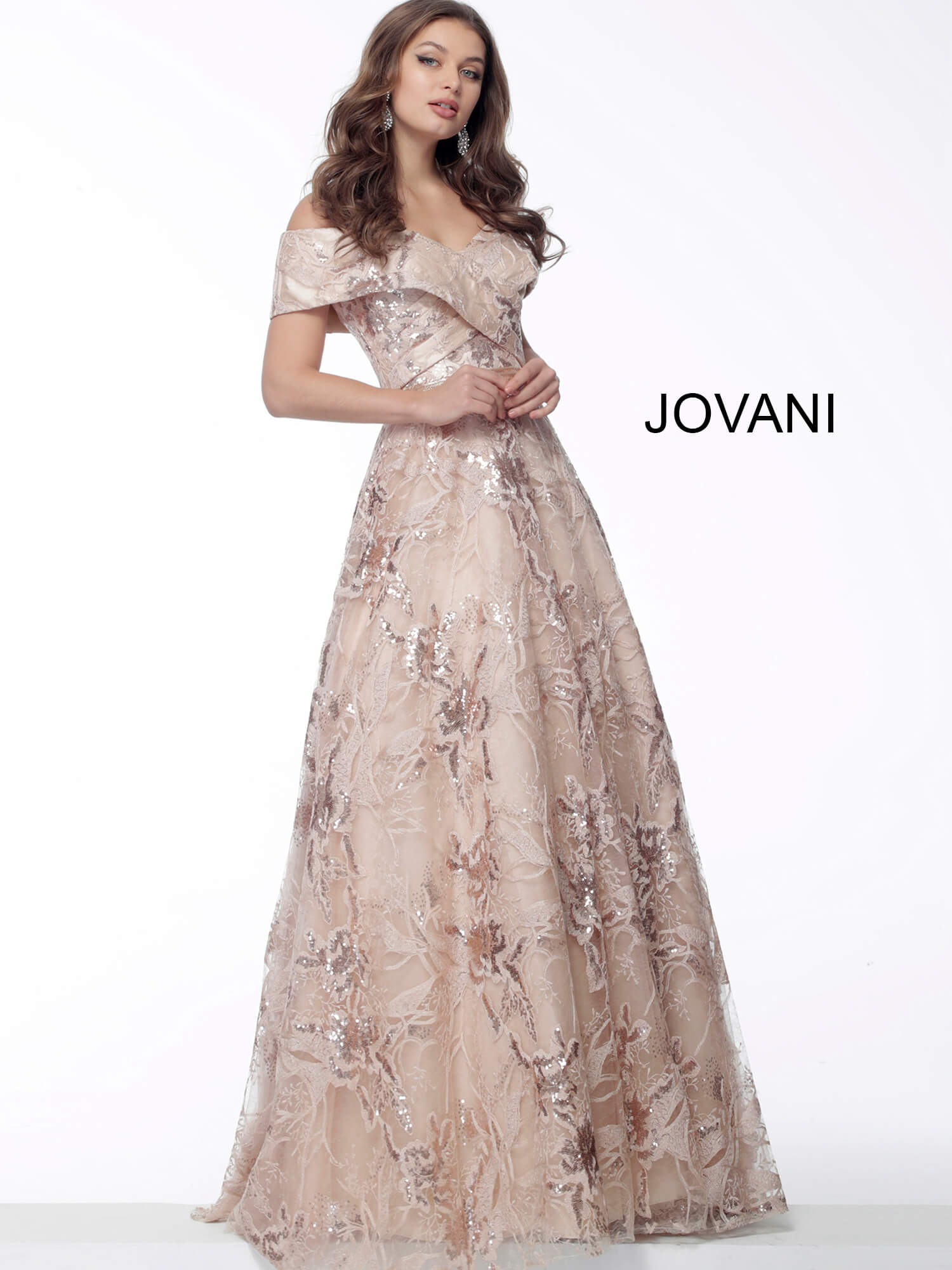 Jovani 67911 lace long aline dress