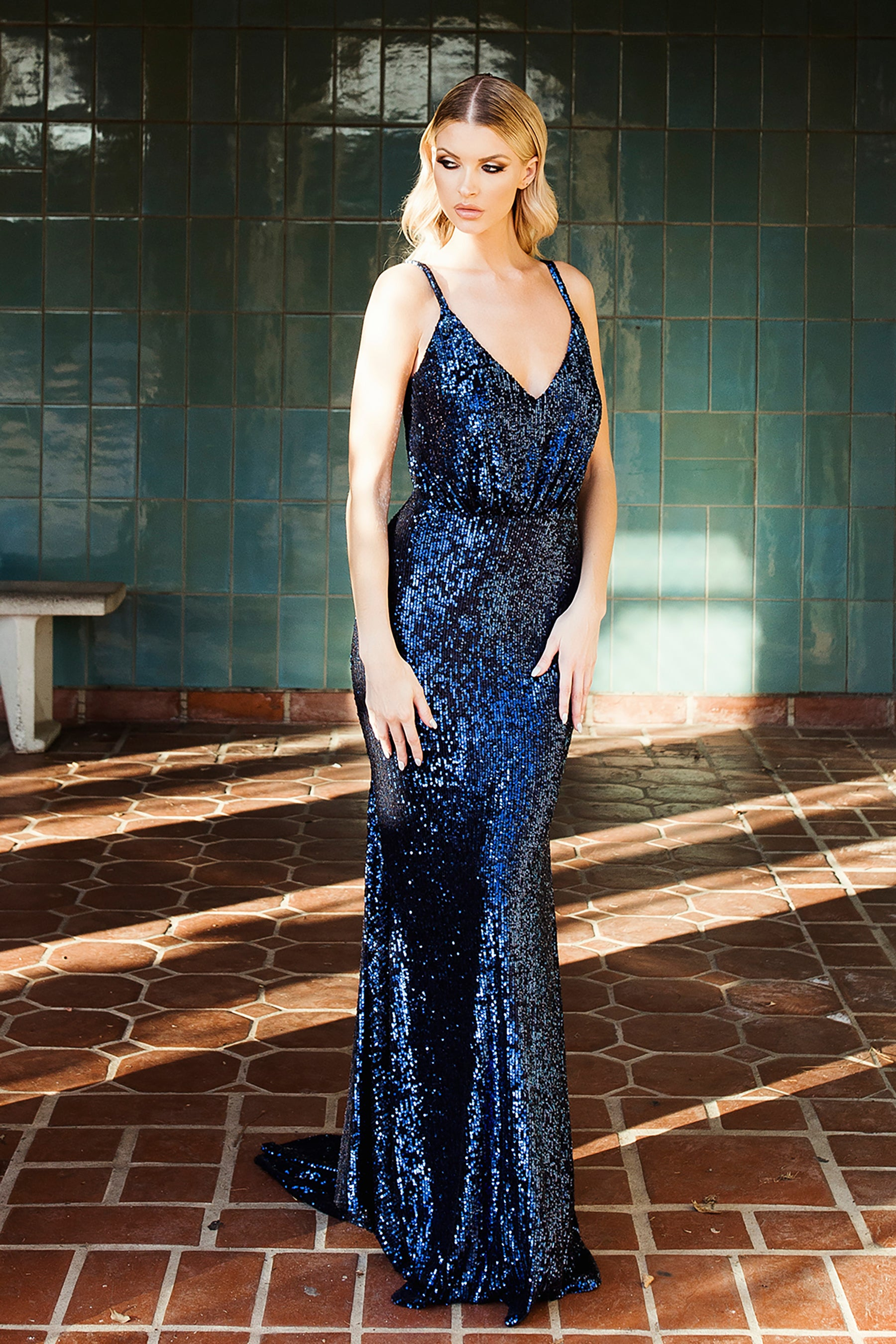nicole bakti 6969 navy sequins dress