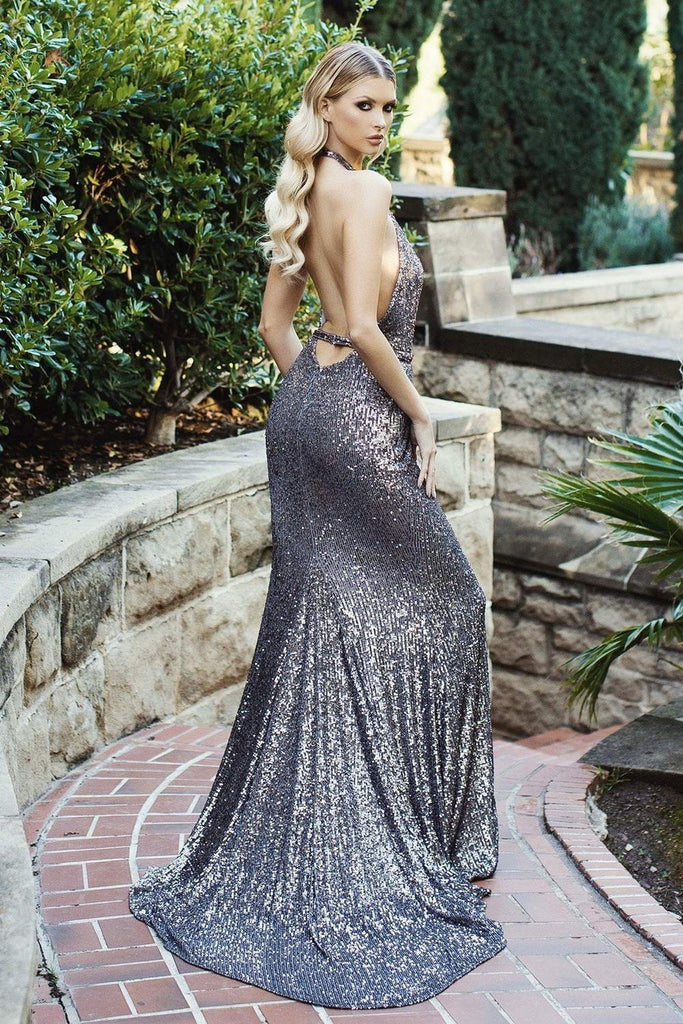 Nicole bakti 6999 long low back sequins prom dress