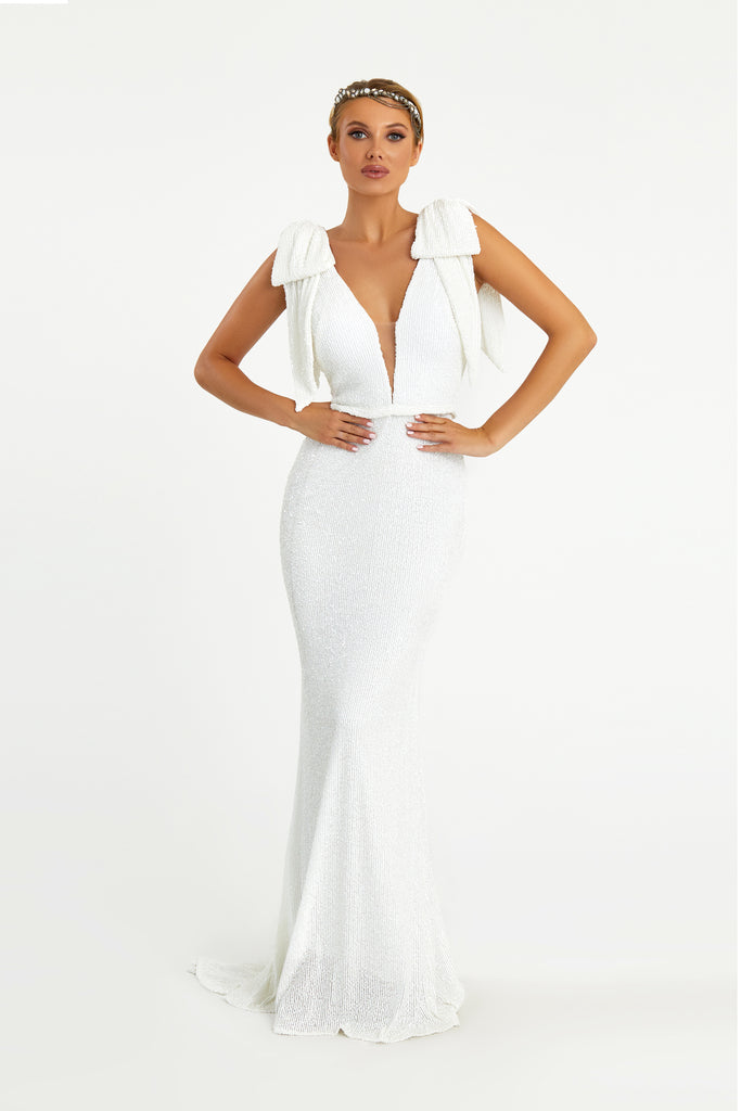 nicole bakti 7031 white sequins dress