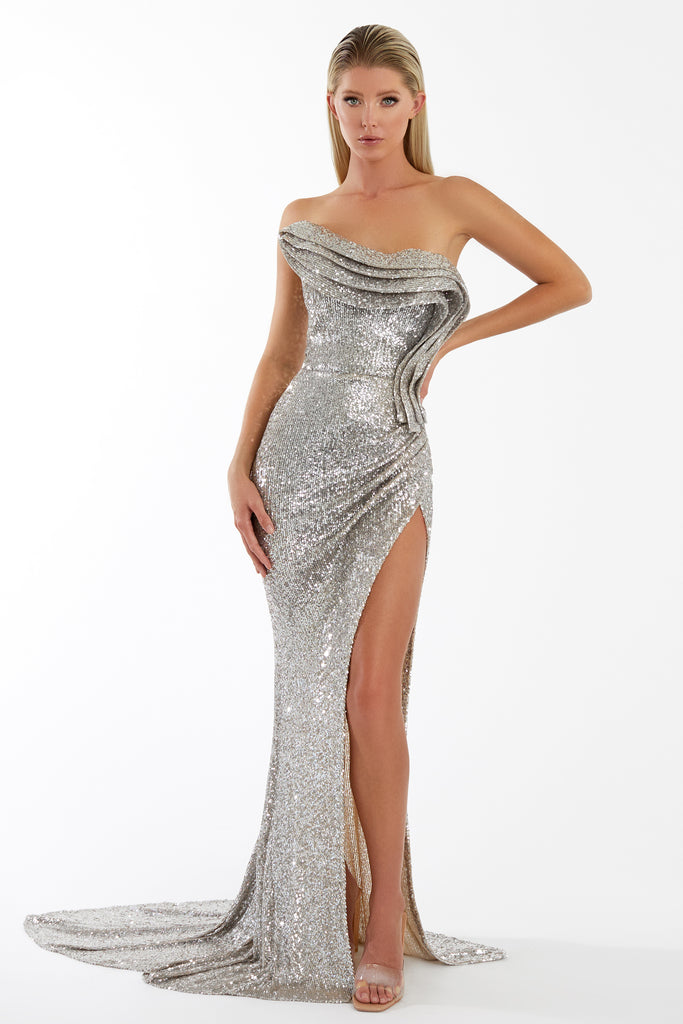 nicole bakti 7038 silver sequins dress