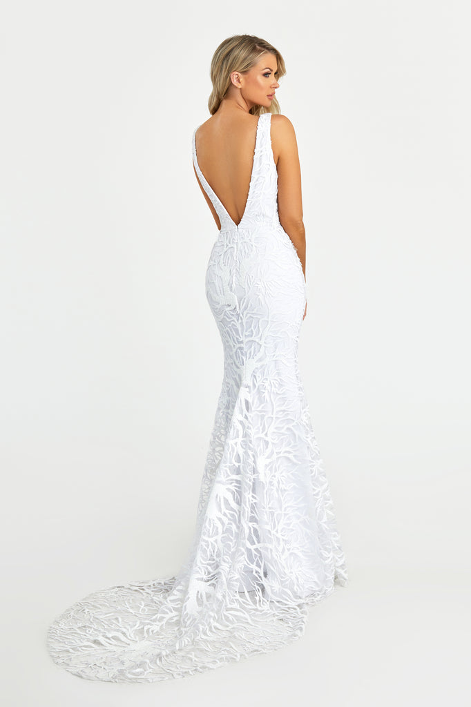 Nicole Bakti 7091 ivory lace long dress