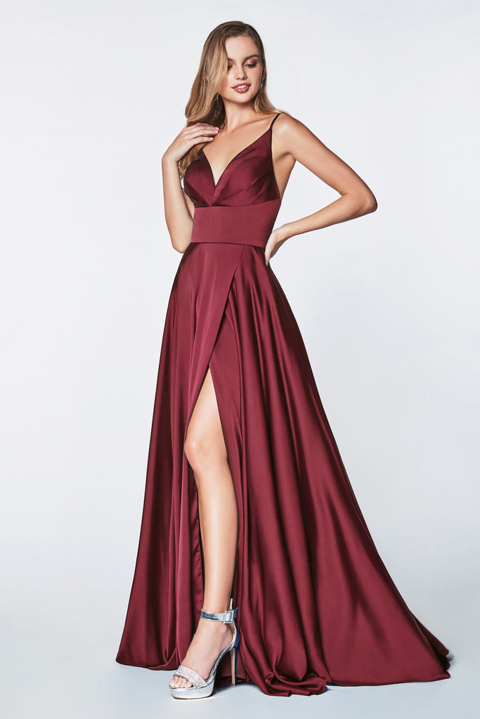 long satin wine red bridesmaid dress