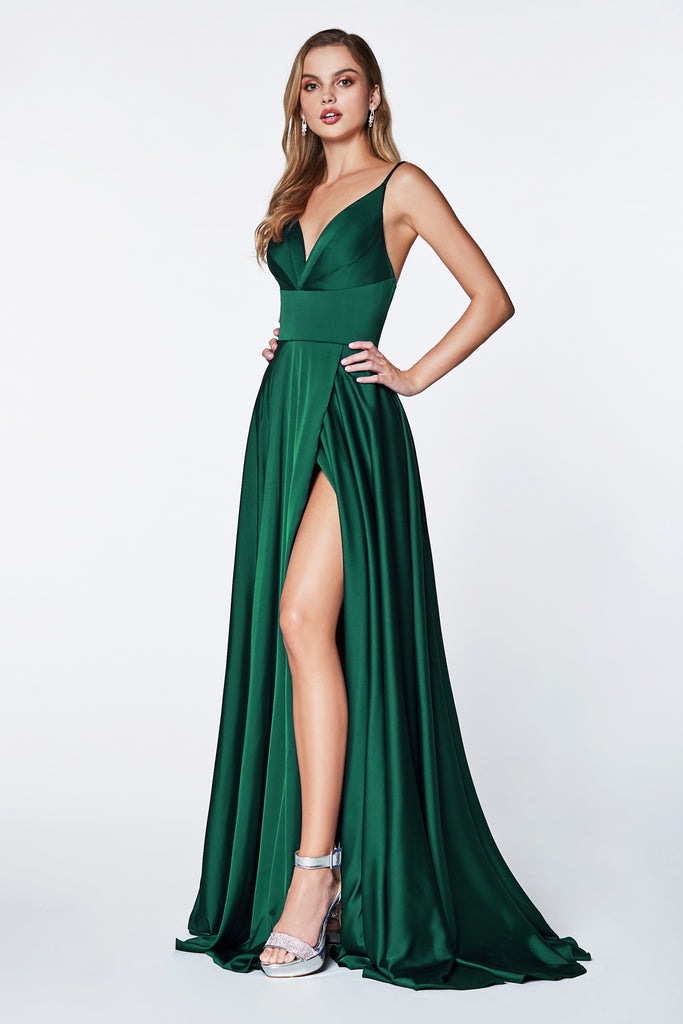 long satin emerald green prom dress