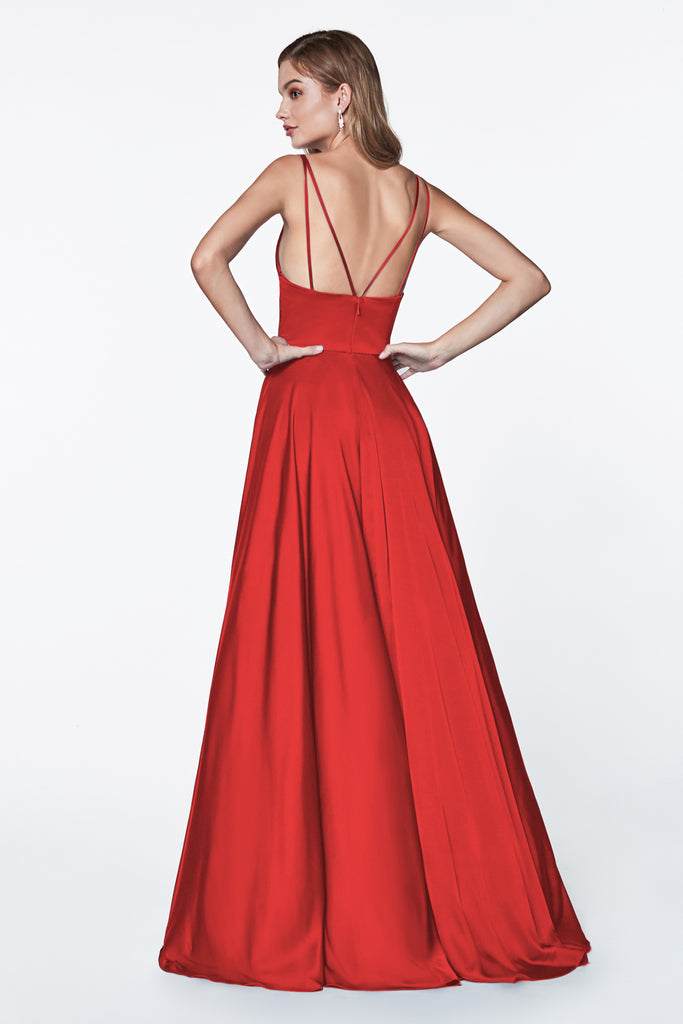 long red satin formal prom dress
