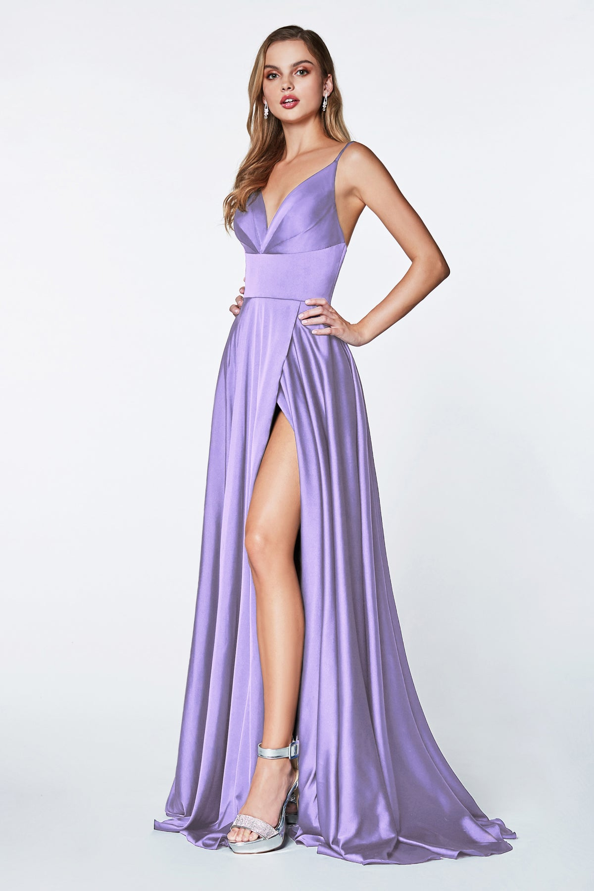 lavender purple satin prom dress
