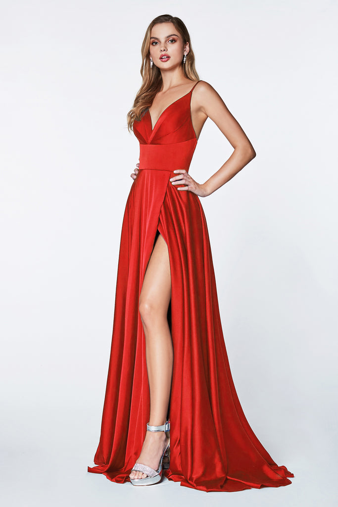 long red satin prom dress