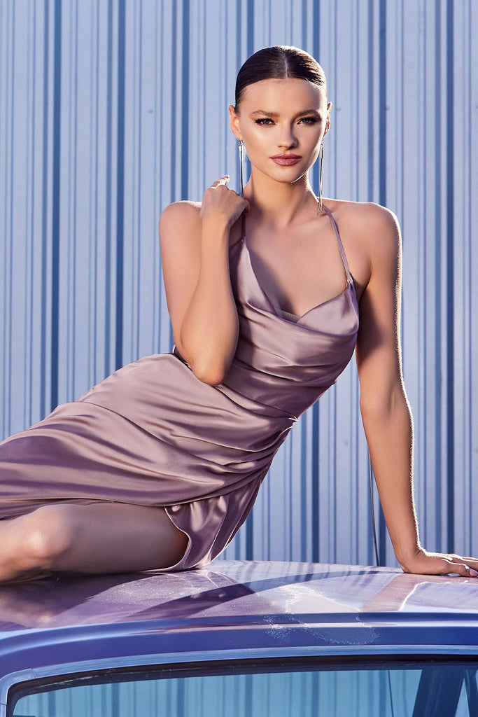 The Balboa cowl long satin gown