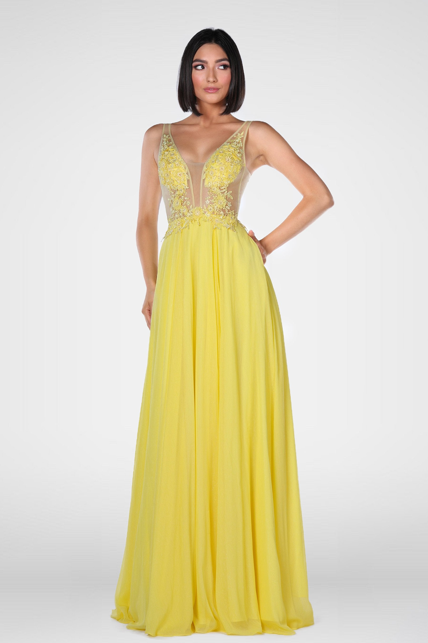 Vienna prom 7908 yellow prom dress