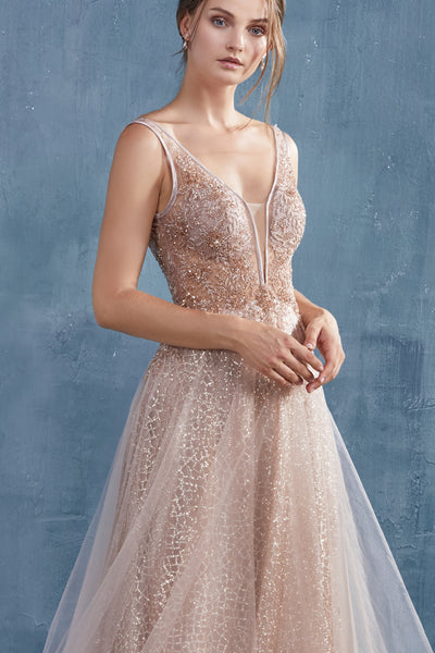 rose gold sparkle prom dress