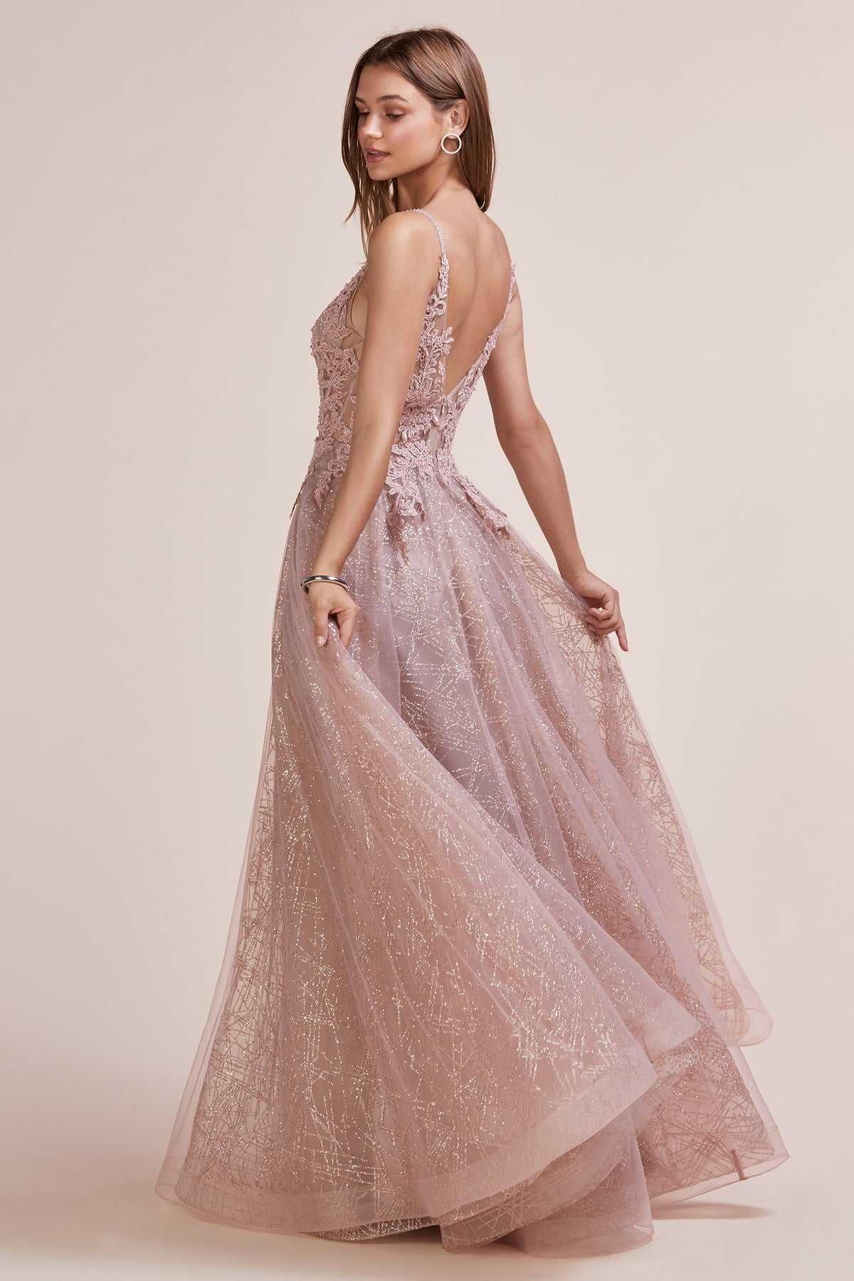 rose gold lace prom dress