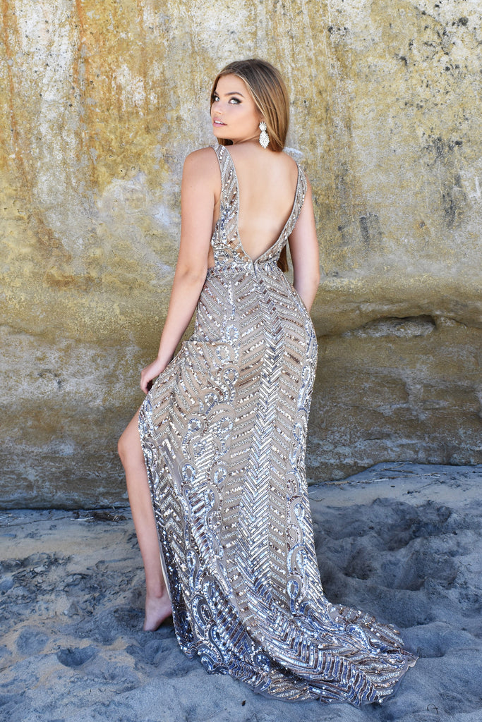 low back beaded evening dress