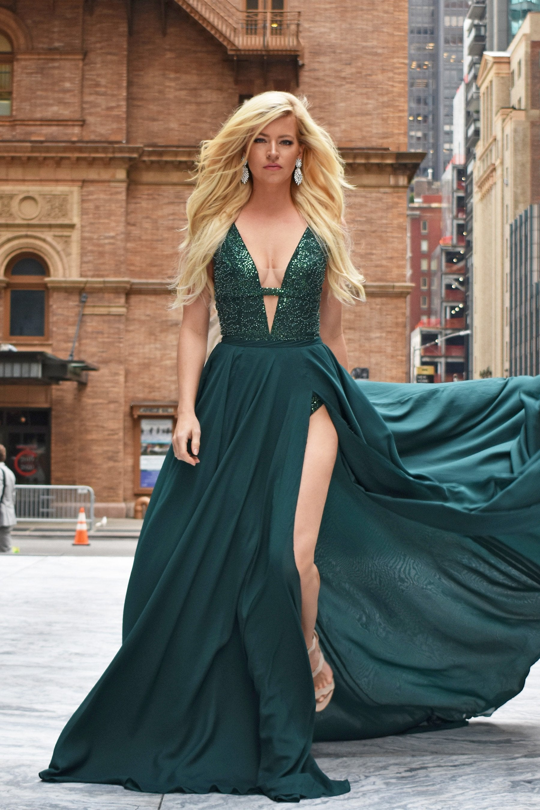 emerald green pageant dress