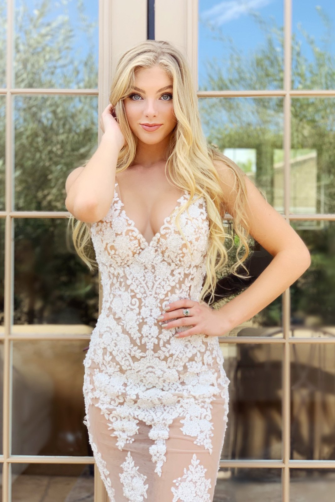 sexy sheer lace prom dress