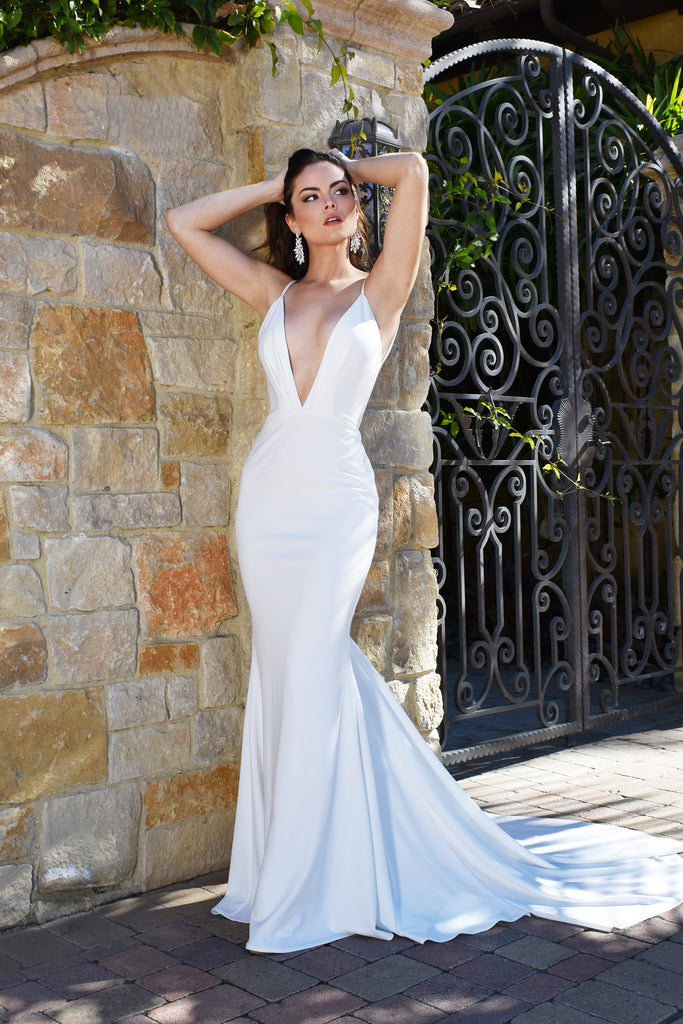 simple stretch crepe bridal gown