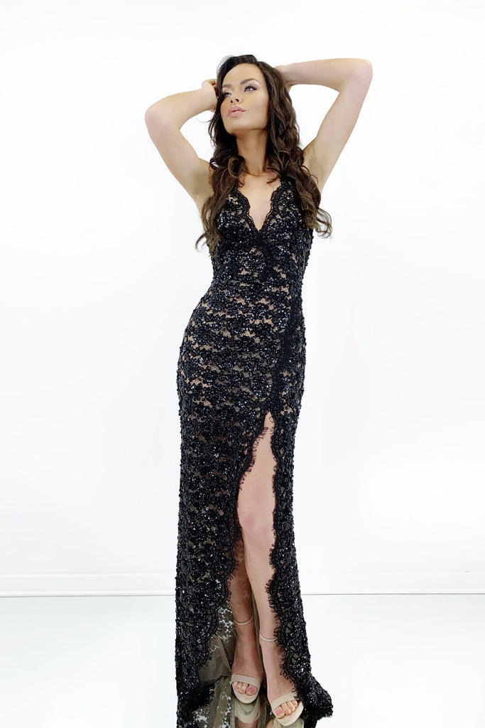Rene the label black sheer lace long dress