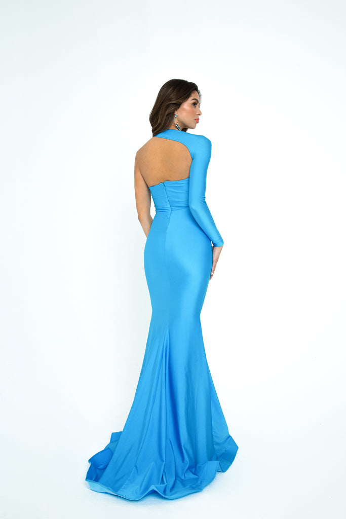 atria 6301H blue long sleeve prom and pageant dress