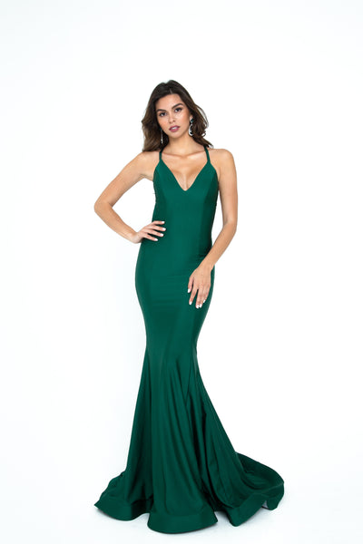 atria 6305 emerald green low back fitted prom dress