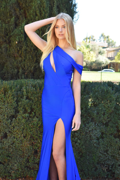 Atria 6555h royal blue one shoulder prom dress