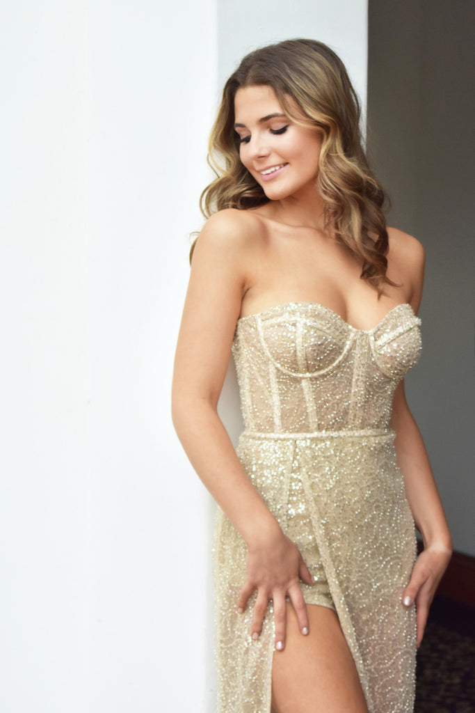 rene the label aurora gown bustier